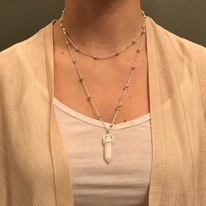 White Crystal Pendent with Choker